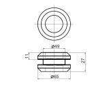 Кноб плоский с винтовым соединением - схема